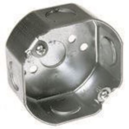 """Picture of Hubbell-Raco 110 3-1/2"""" Octagon Box, 1-1/2"""" Deep, 1/2"""" Kos, Steel"""