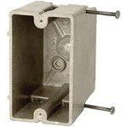 """Picture of Allied Moulded 1099-N Switch/Outlet Box, 1-Gang, Depth: 3-9/16"""", Nail-On, Non-Metallic"""