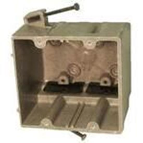 """Picture of Allied Moulded 2300-NK Switch/Outlet Box, 2-Gang, Depth: 3"""", Nail-On, Non-Metallic"""