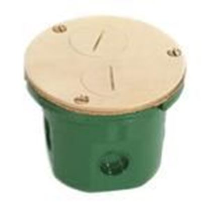 "Picture of Lew 812-DFB Floor Box Assembly, Duplex Receptacle, 4"" Diameter, Metallic"