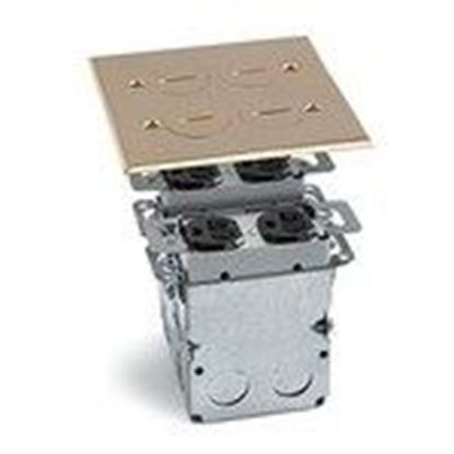 Picture of Lew SWB-4 Floor Box Assembly, Includes Duplex Receptacle, Brass Floor Plate