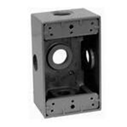 "Picture of BWF DB5-22XV Weatherproof Box, 1-Gang, Depth: 2-5/8"", Zinc Die Cast"