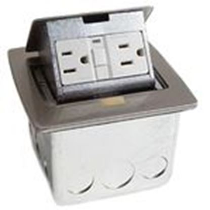 Picture of Lew PUFP-CT-SS Counter Box Assembly, 1-Gang, (1) 20A GFI Receptacle, Stainless Steel