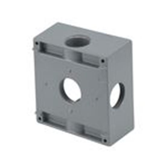 """Picture of BWF TGB100-5XV Weatherproof Outlet Box, 2-Gang, Depth: 2"""", (5) 1"""" Hubs"""