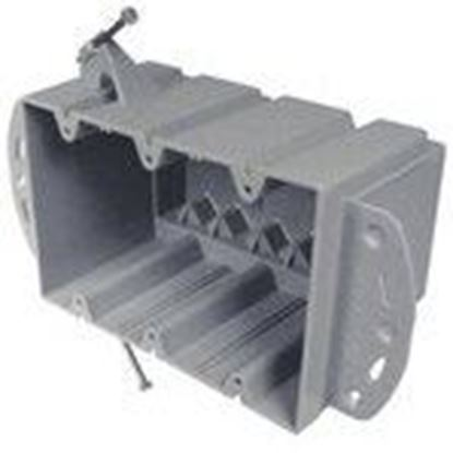 """Picture of Cantex EZ74TN Switch/Outlet Box, 3-Gang, Depth: 3"""", Nail-On, Non-Metallic"""