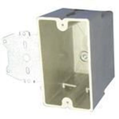 "Picture of Allied Moulded 1098-Z4 Switch/Outlet Box with Bracket, Depth: 3-1/4"", 1-Gang, Non-Metallic"