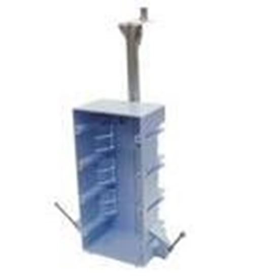 """Picture of Cantex EZ55QNB Switch/Outlet Box with Bracket, Depth: 2-5/8"""", 4-Gang, Nail-On, Non-Metallic"""