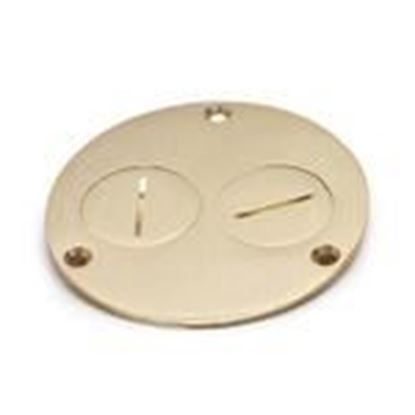 "Picture of Lew 523-DP Round Duplex Cover, Diameter: 4"", Metallic, Brass"