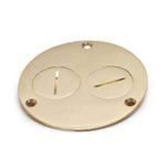 """Picture of Lew 523-DP Round Duplex Cover, Diameter: 4"""", Metallic, Brass"""