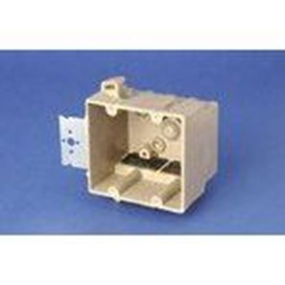 """Picture of Allied Moulded 2300-Z4K Switch/Outlet Box, 2-Gang, Depth: 3"""", Bracket, Non-Metallic"""
