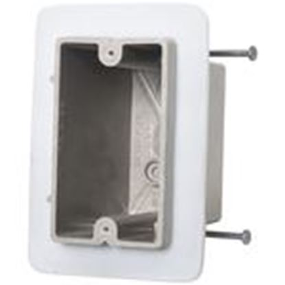 """Picture of Allied Moulded 1099-NV Switch/Outlet Box, 1-Gang, Depth: 3-9/16"""", Nail-On, Non-Metallic"""