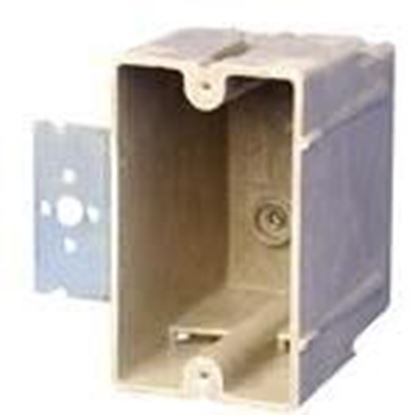 "Picture of Allied Moulded 1098-Z2 Switch/Outlet Box with Bracket, Depth: 3"", 1-Gang, Non-Metallic"