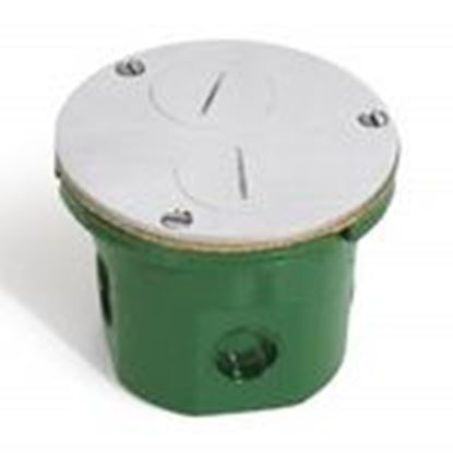 "Picture of Lew 812-DFB-A Floor Box Assembly, Duplex Receptacle, 4"" Diameter, Metallic"
