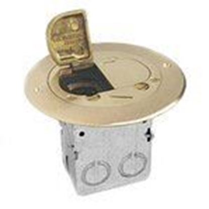 "Picture of Lew 612-RSS-2 Duplex Receptacle, 5-3/4"" Diameter, Floor Box Assembly"