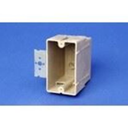 """Picture of Allied Moulded 1099-Z4 Switch/Outlet Box with Bracket, Depth: 3 1/4"""", 1-Gang, Non-Metallic"""