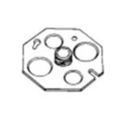 """Picture of Appleton 0CP38 4"""" Octagon Back Plate, 3/8"""" Fixture Stud, 1/2 and 3/4"""" KOs, Steel"""