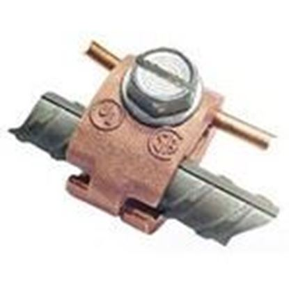 "Picture of Greaves J32-DB Rebar Ground Clamp, 1/2 to 3/4"", 6 to 4/0 AWG, Bronze"