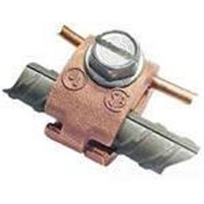 "Picture of Greaves J29-DB Jones Rebar Clamp, # 3, 3/8"", 6 - 8 AWG, Copper Only, Direct Burial"