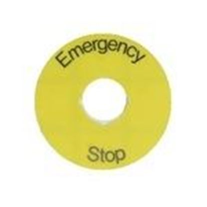 Picture of ABB 1SFA 616 915 R1005 22mm Legend Plate, Emergency Stop