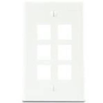 Picture of DataComm Electronics 20-3006-WH Wallplate 6-Port 1-Gang White