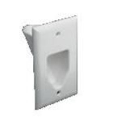 Picture of DataComm Electronics 45-0001-WH Recessed Cable Plate, 1-Gang, White