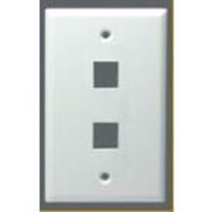 Picture of DataComm Electronics 20-3012-WH Module Faceplate, 2-Port, 1-Gang, White, Midi, Vertical