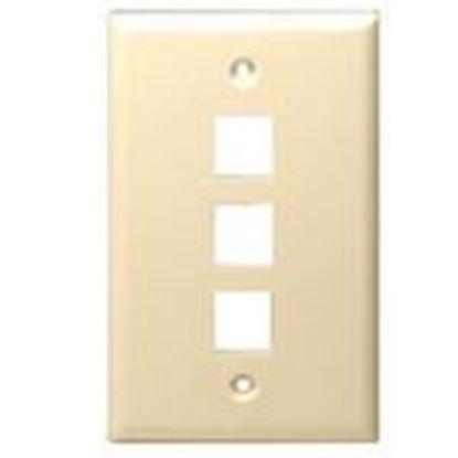 Picture of DataComm Electronics 20-3003-LA Wallplate, 1-Gang, 3-Port, Light Almond