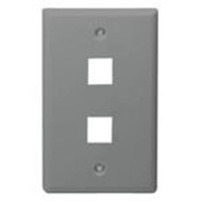 Picture of DataComm Electronics 20-3002-GY Wallplate, 1-Gang, 2-Port, Grey