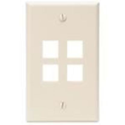 Picture of DataComm Electronics 20-3004-IV Ivory Wallplate 4-Port 1-Gang