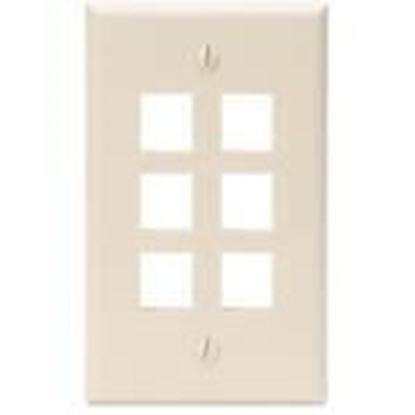 Picture of DataComm Electronics 20-3006-LA Light Almond Wallplate 6-Port 1-Gang