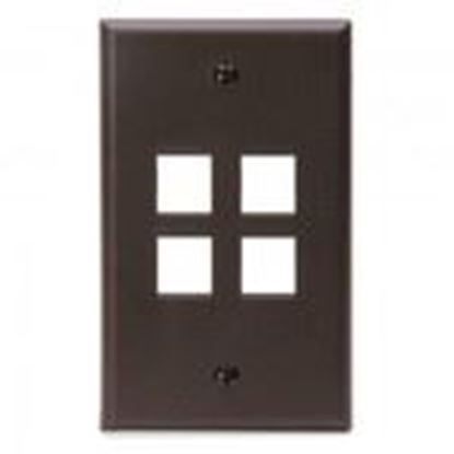 Picture of DataComm Electronics 20-3004-BR Wallplate Box Mount 4-Port 1-Gang Brown
