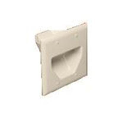 Picture of DataComm Electronics 45-0002-LA Recessed Plate, 2-Gang, Light Almond