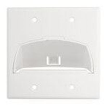 Picture of ON-Q WP9002-WH Double Gang Hinged Bull Nose Wall Plate, White