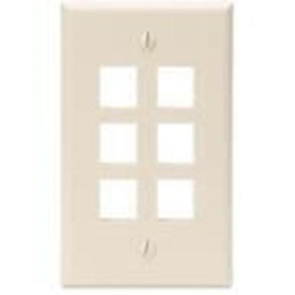 Picture of DataComm Electronics 20-3006-IV Ivory Wallplate 6-Port 1-Gang