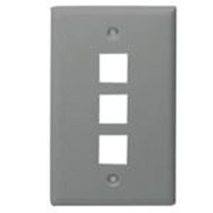 Picture of DataComm Electronics 20-3003-GY Wallplate, 1-Gang, 3-Port, Grey