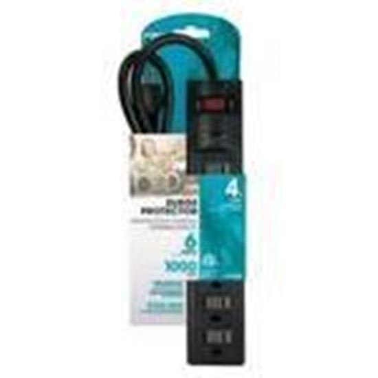 Picture of Prime Wire PB802225 15A, 120V, 1875W, 6 Outlet Power Strip, 4ft Cord
