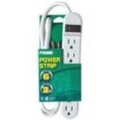 Picture of Prime Wire PB801124 15A, 120V, 1875W, 6 Outlet Power Strip, 3ft Cord