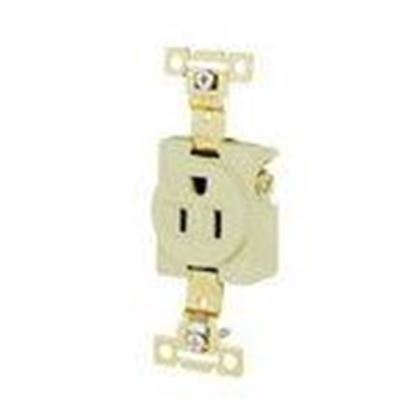 Picture of Hubbell-Bryant 5261I Single Receptacle, Industrial Grade, 15A, 125V, 2P3W, Ivory