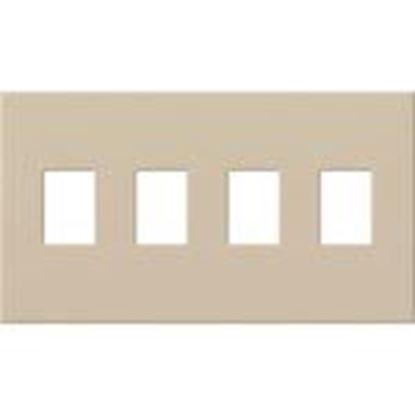 Picture of Lutron VWP-4-TP Wallplate, 4-Gang, Dimmer/Switch, Taupe