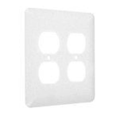 Picture of Hubbell-TayMac WRTW-DD 2-Gang Metal Wallplate, Maxi, 2- Duplex, White Textured