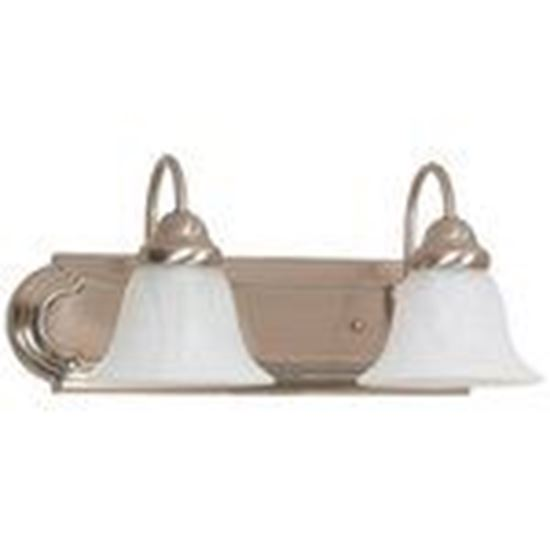 Picture of Satco 60/320 2-Lights Wall Mounted Vanity Fixture in Brushed Nickel Finish with Alabaster Bell Shades