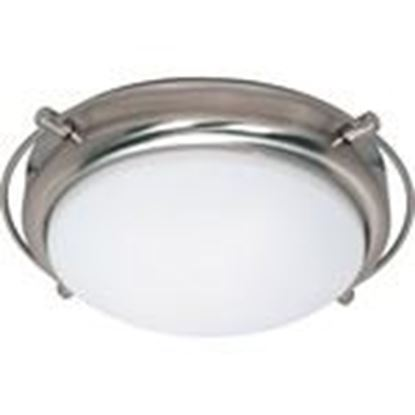 Picture of Satco 60/608 2-Lights Dome Flush Mount Ceiling Light in Brushed Nickel Finish with White Opal Glass