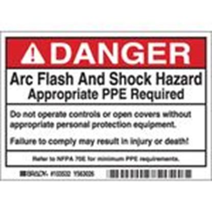 Picture of Brady 103532 DP- 3.5x5 Arc Flash & Shock Label, 5 Pk