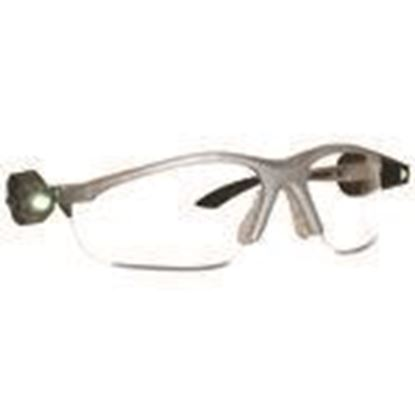Picture of 3M 11476-00000-10 Protective Eyewear, Anti-Fog Clear Lens, Black Frame w/ Dual LED Lights